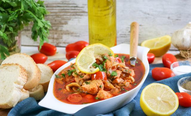 Tuscan Seafood Stew Adding Tomatoes Stir in Seafood