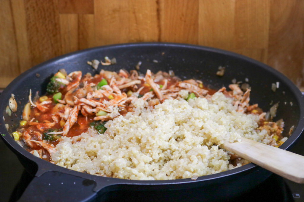 Add Fluffed Quinoa