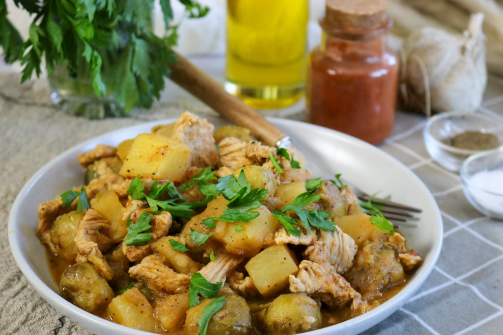 Healthy Kielbasa, Brussels Sprouts, Potato & Pear Skillet