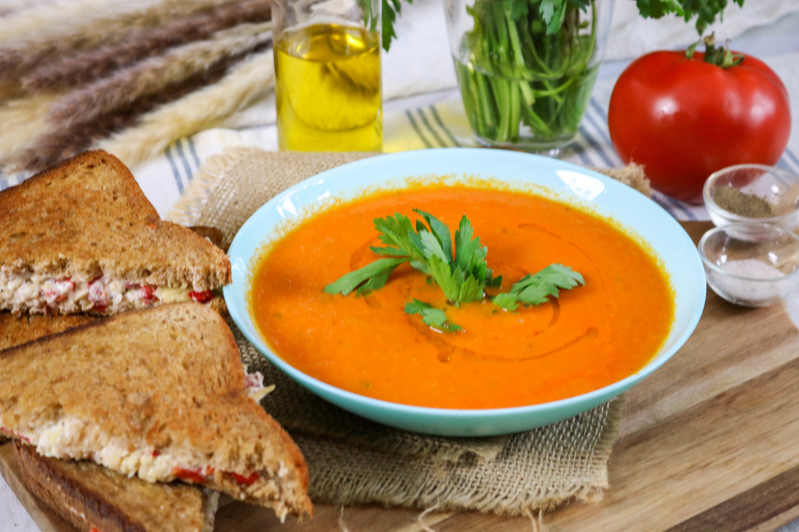 Tomato Basil Soup With Grilled Pimento Cheese Sandwiches