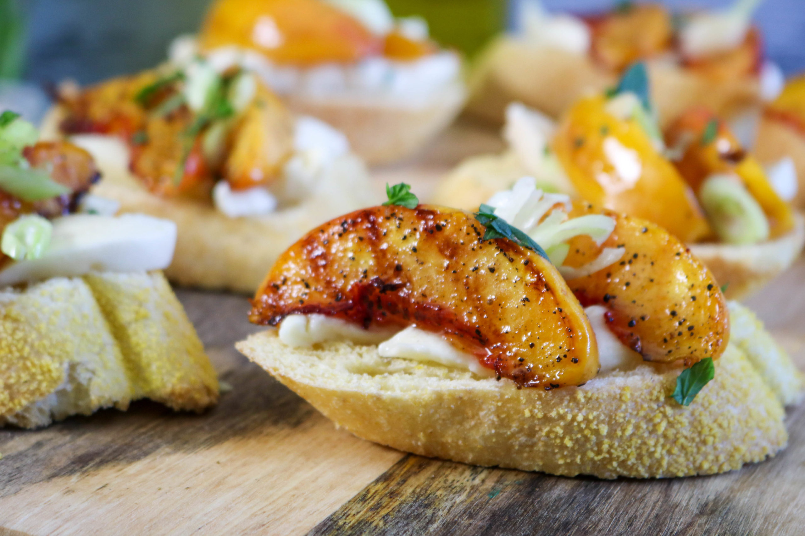 Grilled Peach and Cheese Crostini
