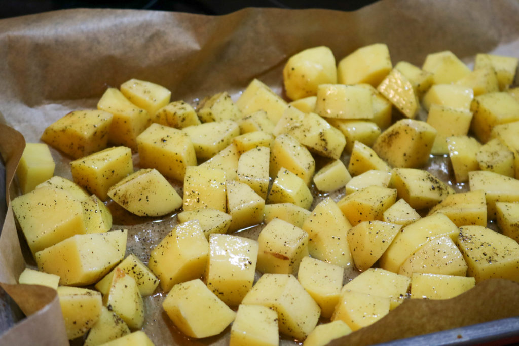 Mix Potatoes with salt, pepper, olive oil