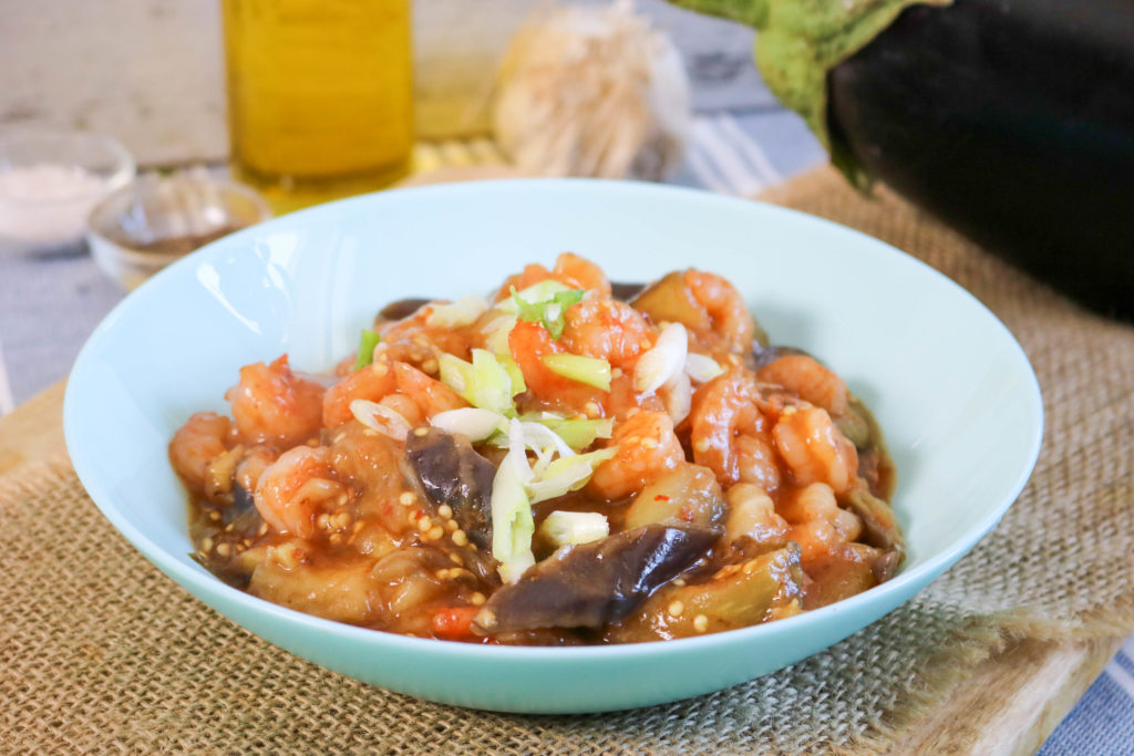 Chicken Shrimp Stir Fry With Steamed Eggplant