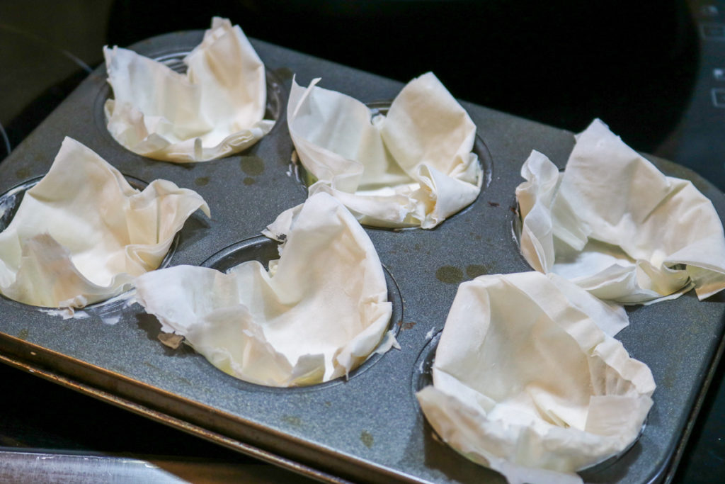 Place Phyllo pastry on a baking dish