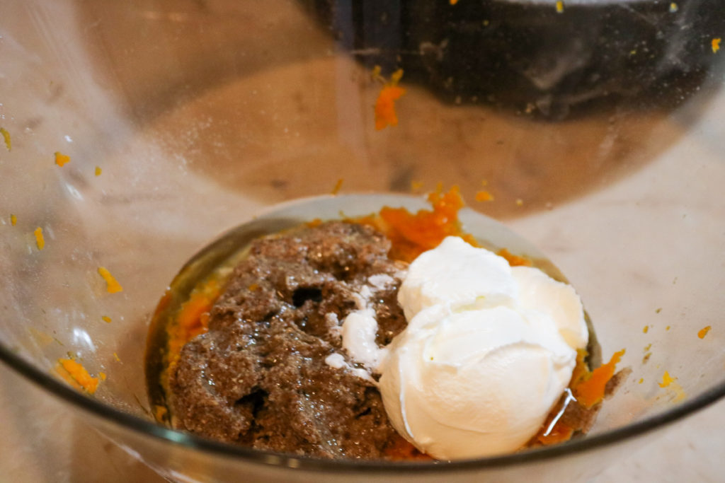 mix together the sugar, stevia/sugar mix, mashed sweet potato, egg substitute, oil, Greek yogurt, and vanilla extract