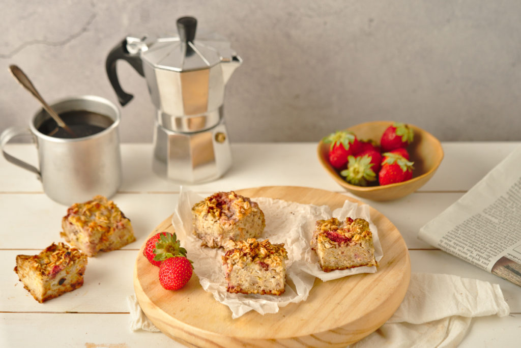 Strawberry Banana Baked Oatmeal Featured Image