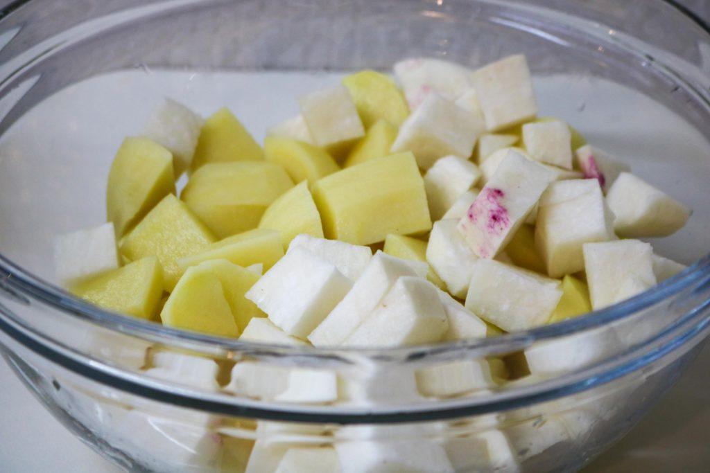 Cut potatoes and rutabaga
