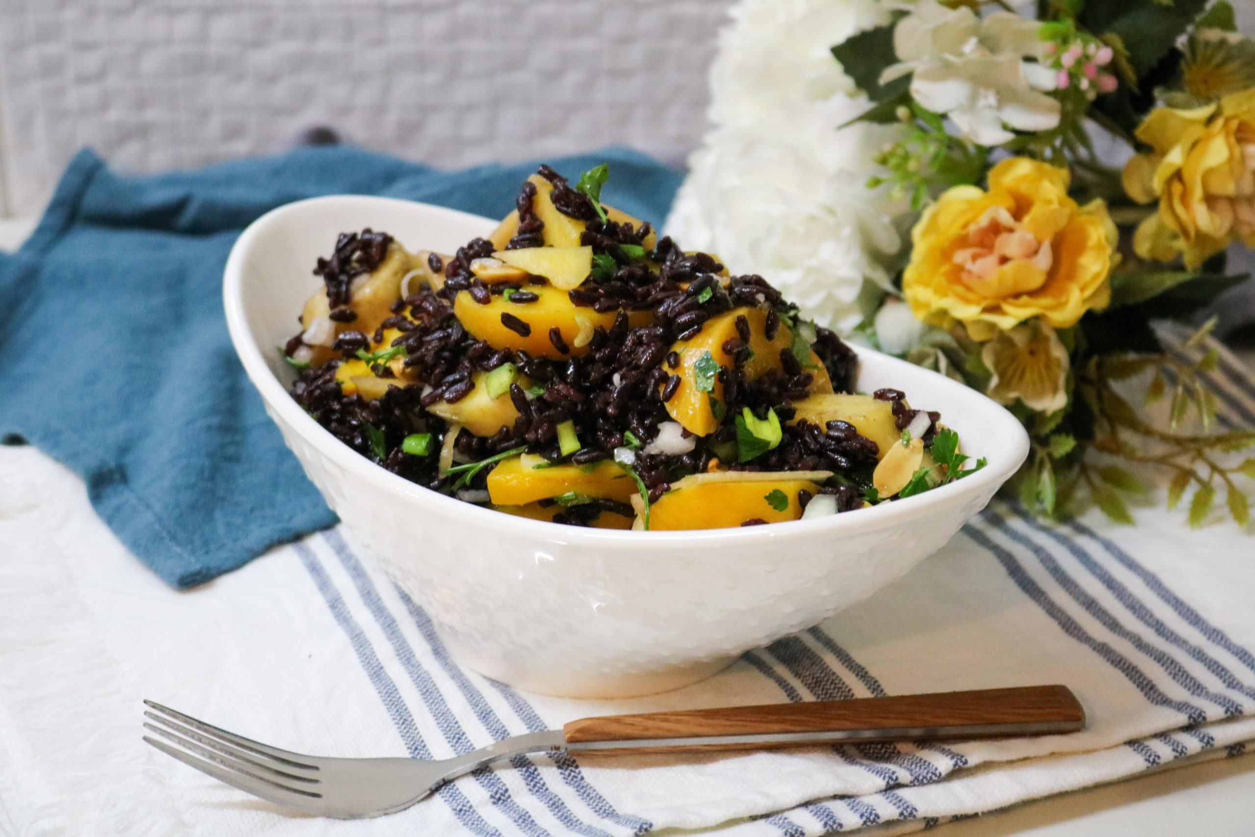 Black Rice Salad with Mango and Peaches Recipe