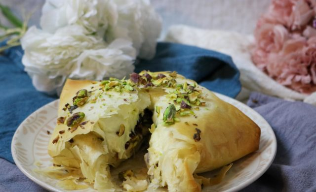 Cranberry Pistachio Stuffed Brie in Phyllo Recipe