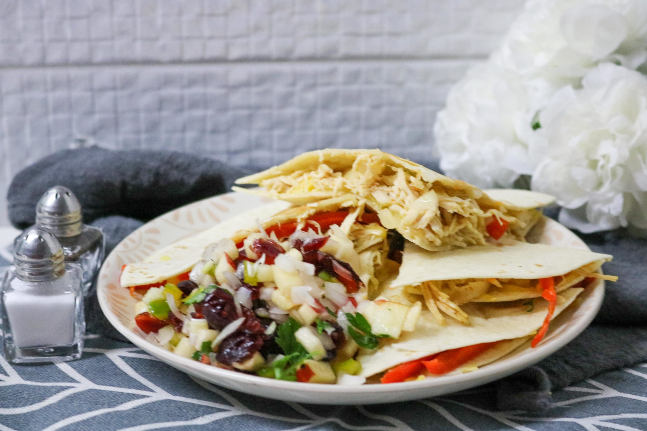Healthy Turkey Quesadillas with Cranberry Apple Salsa Recipe