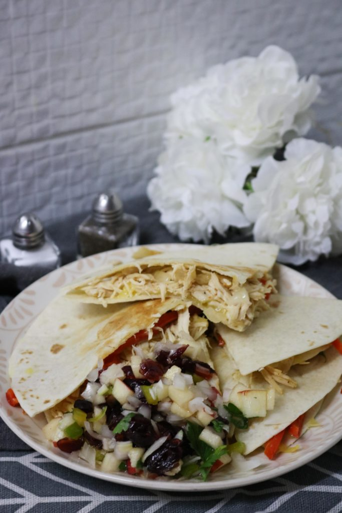 Healthy Turkey Quesadillas with Cranberry Apple Salsa 1